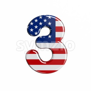 american number 3 - 3d digit Stock Photo