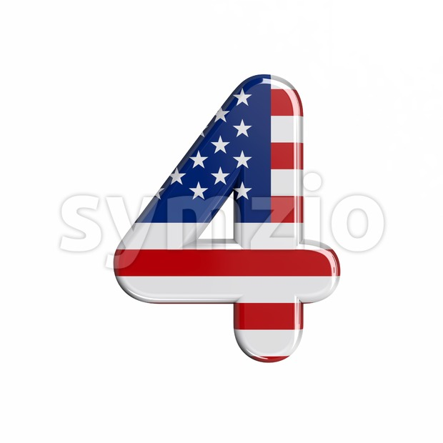 american digit 4 - 3d number Stock Photo
