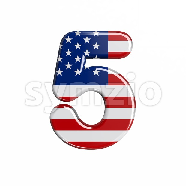 american number 5 - 3d digit Stock Photo