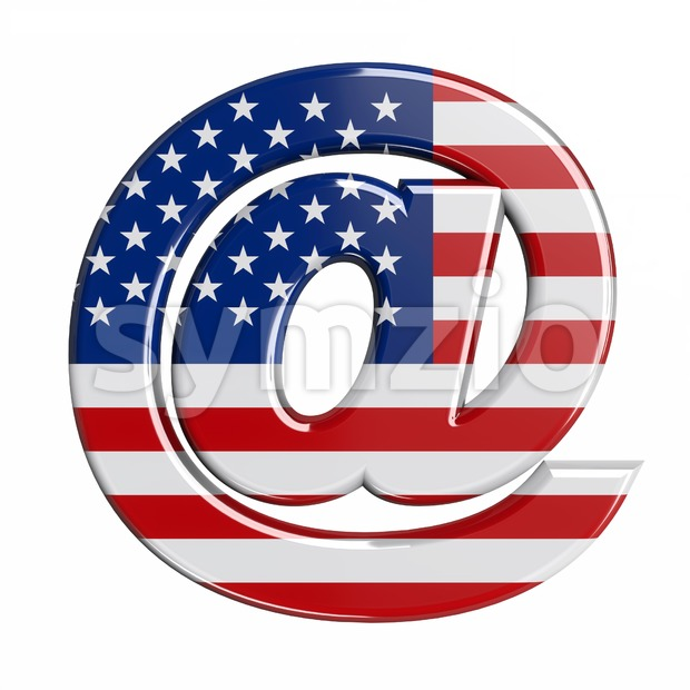 american at-sign - 3d arobase symbol Stock Photo
