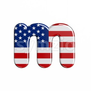 american flag 3d font M - Lowercase 3d letter Stock Photo