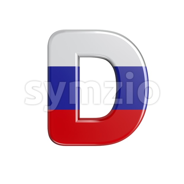 Russia flag font D - Capital 3d character Stock Photo