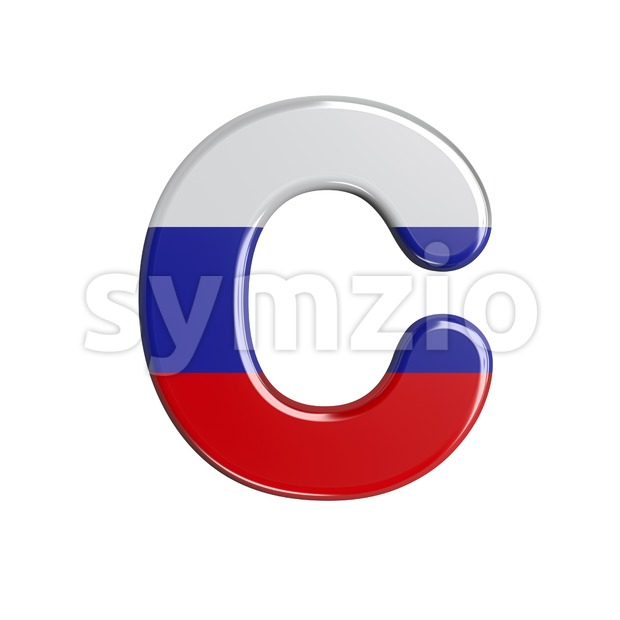 3d Russia font C - Capital 3d letter Stock Photo