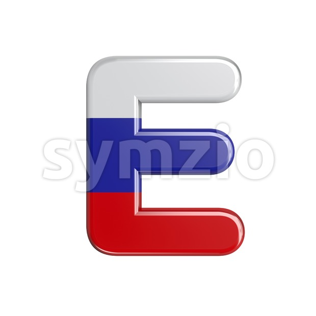 3d Capital character E covered in Russia flag texture Stock Photo