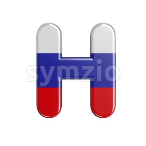 Russia 3d letter H - Upper-case 3d character Stock Photo