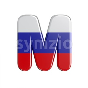3d Capital character M covered in Russia flag texture Stock Photo