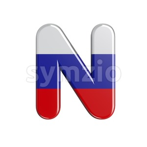 Russia flag font N - Capital 3d letter Stock Photo