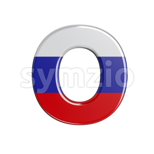 3d Upper-case letter O covered in Russia texture