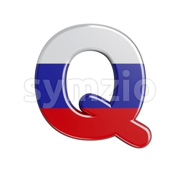 3d Upper-case font Q covered in Russia flag texture