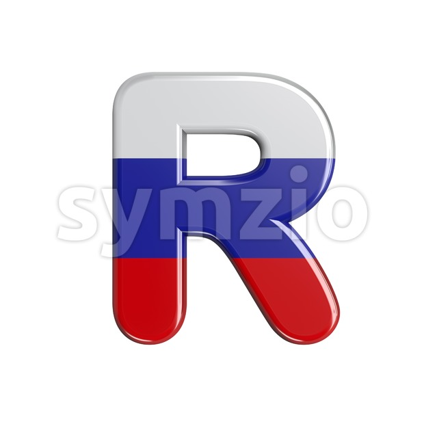 Russia flag letter R - Uppercase 3d font Stock Photo