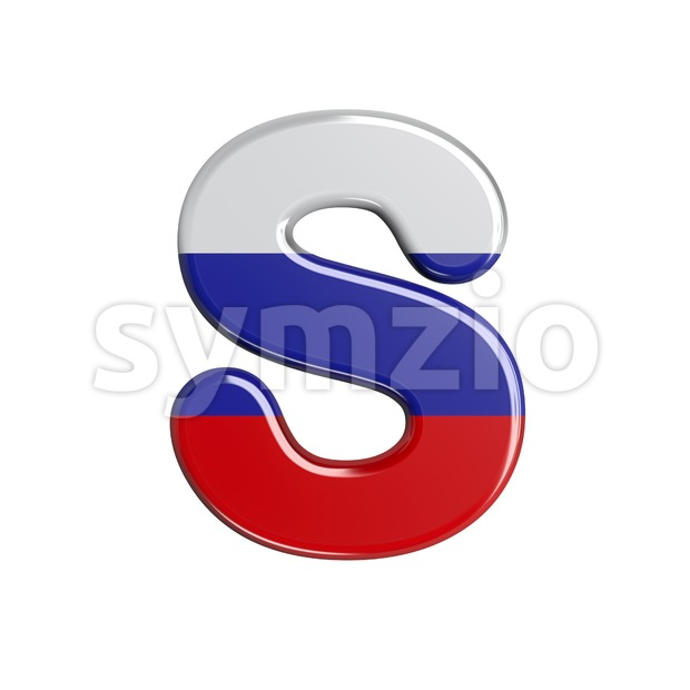 3d Uppercase font S covered in Russia texture