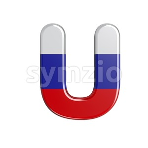 Russia 3d letter U - Capital 3d font Stock Photo