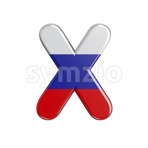 3d Upper-case character X covered in Russia flag texture Stock Photo