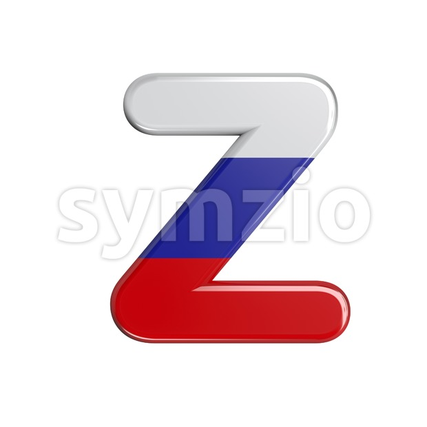 Russia flag letter Z - Upper-case 3d font Stock Photo