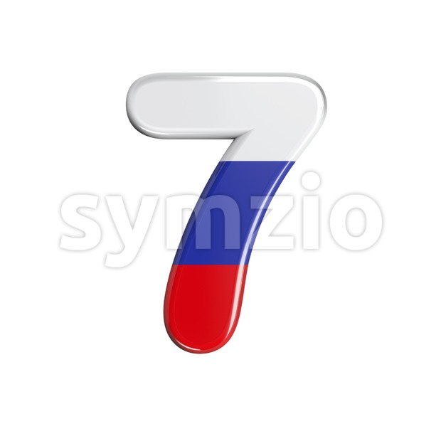 Russian number 7 - 3d digit Stock Photo