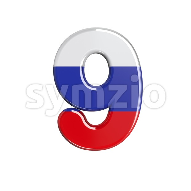 Russian number 9 - 3d digit Stock Photo