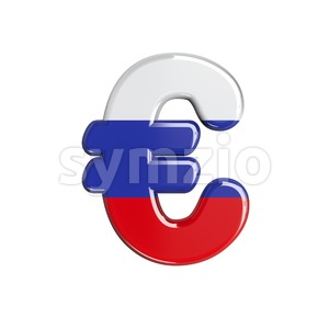 Russian euro currency sign - 3d business symbol Stock Photo
