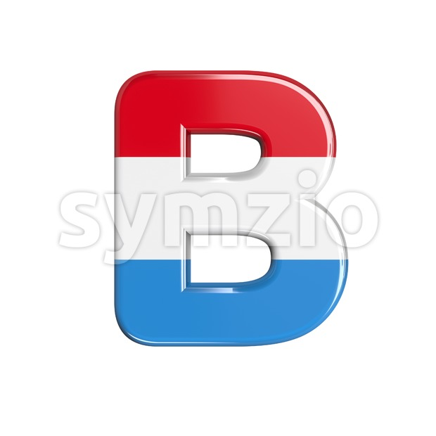 Capital luxembourger flag letter B - Upper-case 3d font Stock Photo