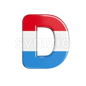 flag of Luxemboug font D - Capital 3d character Stock Photo