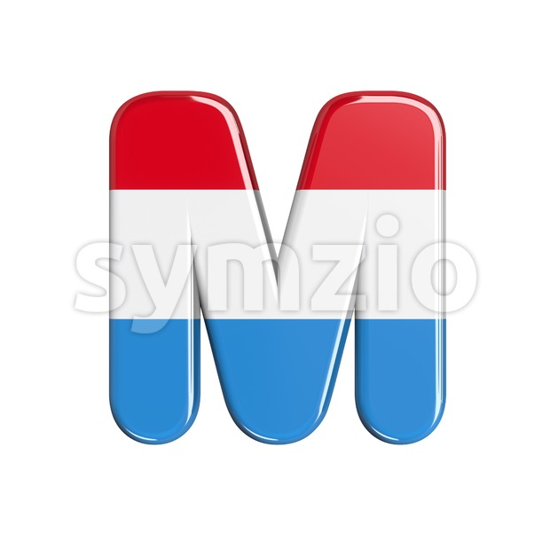 3d Capital character M covered in flag of Luxemboug texture Stock Photo