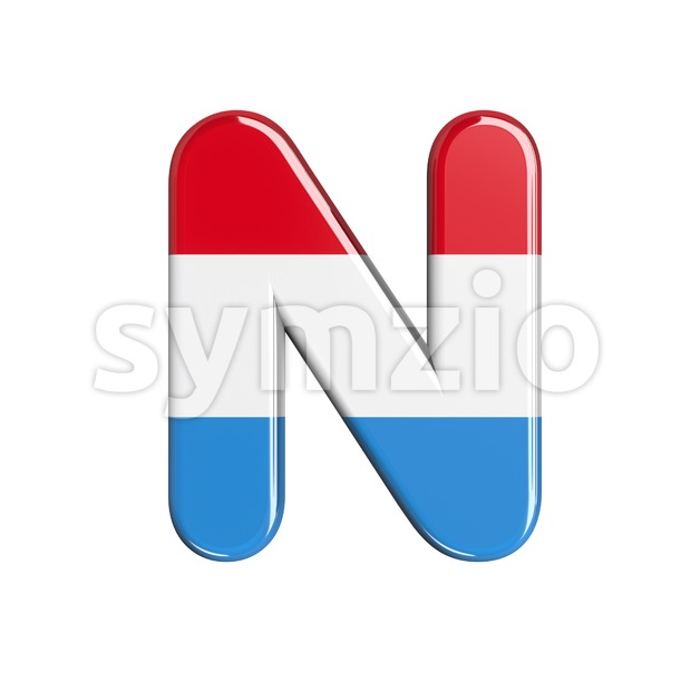 flag of Luxemboug font N - Capital 3d letter Stock Photo