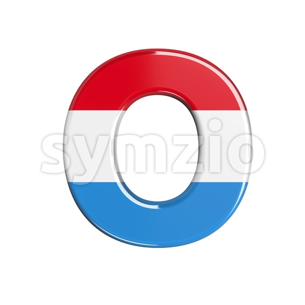 3d Upper-case letter O covered in Luxembourg texture Stock Photo