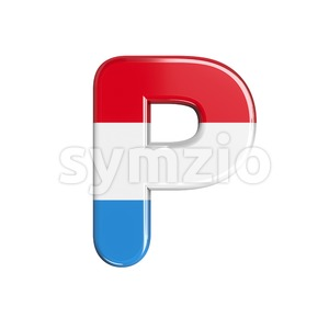 Upper-case flag of Luxemboug character P - Capital 3d font Stock Photo