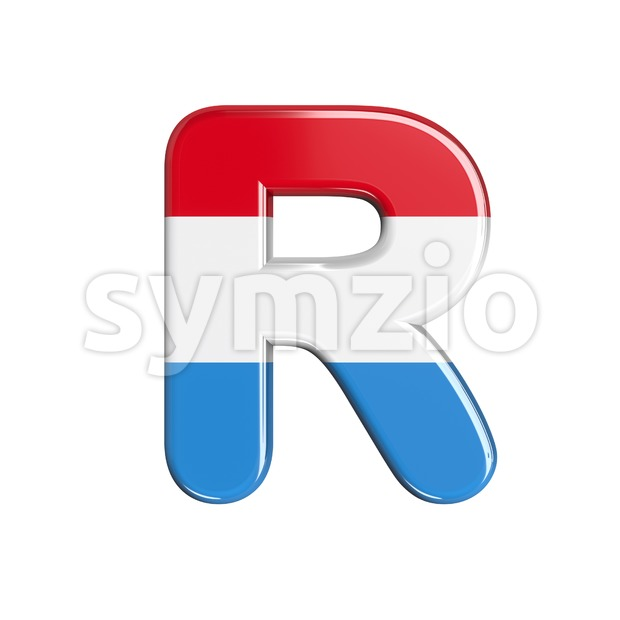flag of Luxemboug letter R - Uppercase 3d font Stock Photo