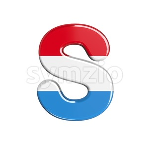 3d Uppercase font S covered in Luxembourg texture Stock Photo