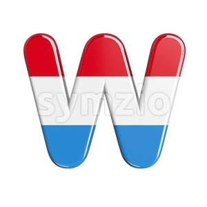 luxembourger flag font W - Capital 3d letter Stock Photo