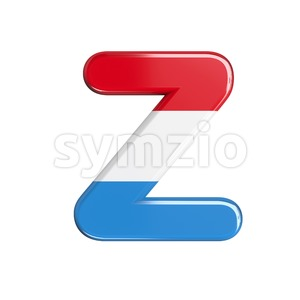 flag of Luxemboug letter Z - Upper-case 3d font Stock Photo