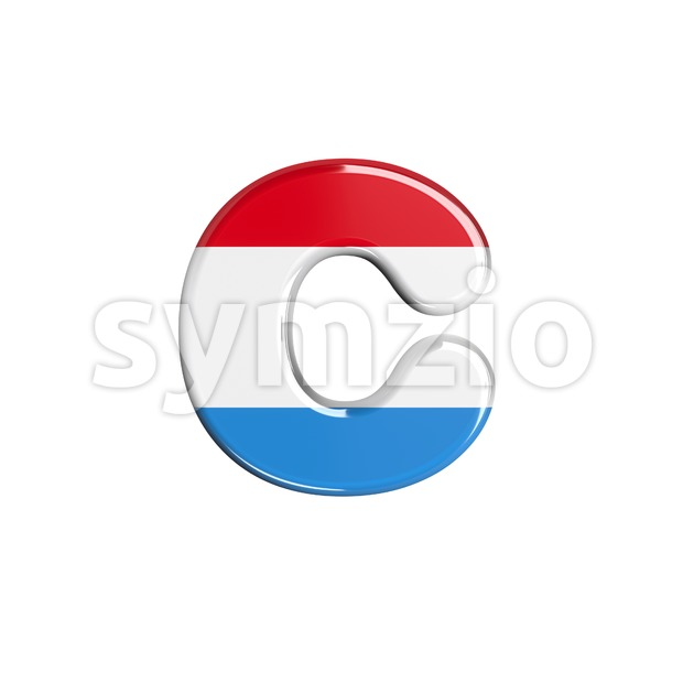 Small Luxembourg font C - Lowercase 3d character Stock Photo
