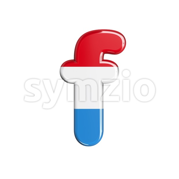 Luxembourg letter F - Small 3d font Stock Photo