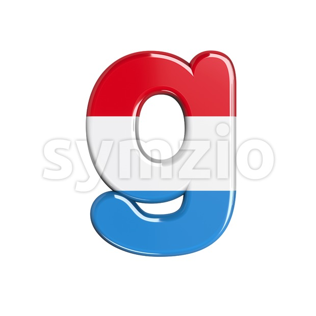 Lowercase Luxembourg font G - Small 3d character Stock Photo