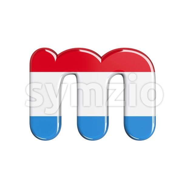 flag of Luxemboug 3d font M - Lowercase 3d letter Stock Photo