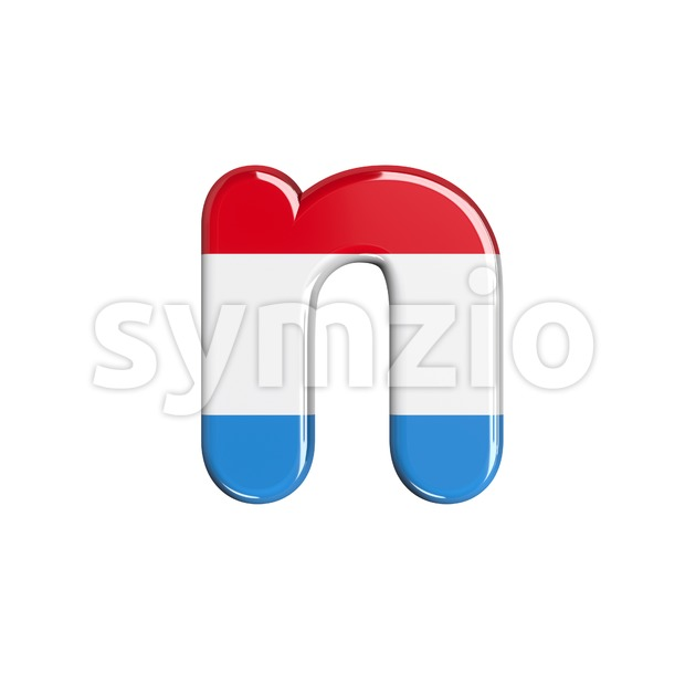 Lower-case Luxembourg letter N - Small 3d font Stock Photo