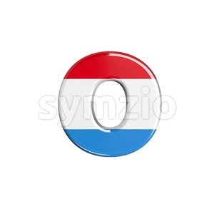 flag of Luxemboug font O - Small 3d letter Stock Photo