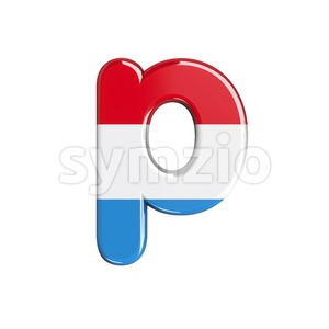 flag of Luxemboug character P - Lowercase 3d font Stock Photo