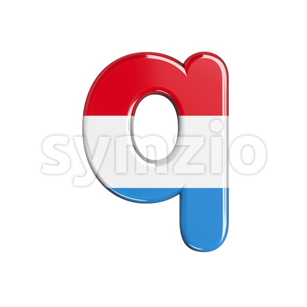 3d Lower-case font Q covered in Luxembourg flag texture