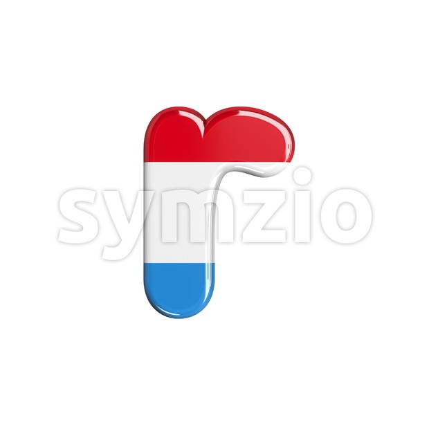 Small Luxembourg character R - Lower-case 3d letter Stock Photo
