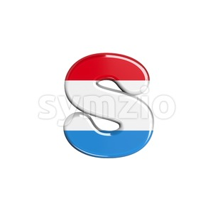 luxembourger flag letter S - Lowercase 3d font Stock Photo