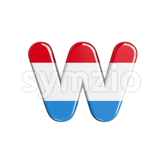 3d Lower-case letter W covered in Luxembourg flag texture