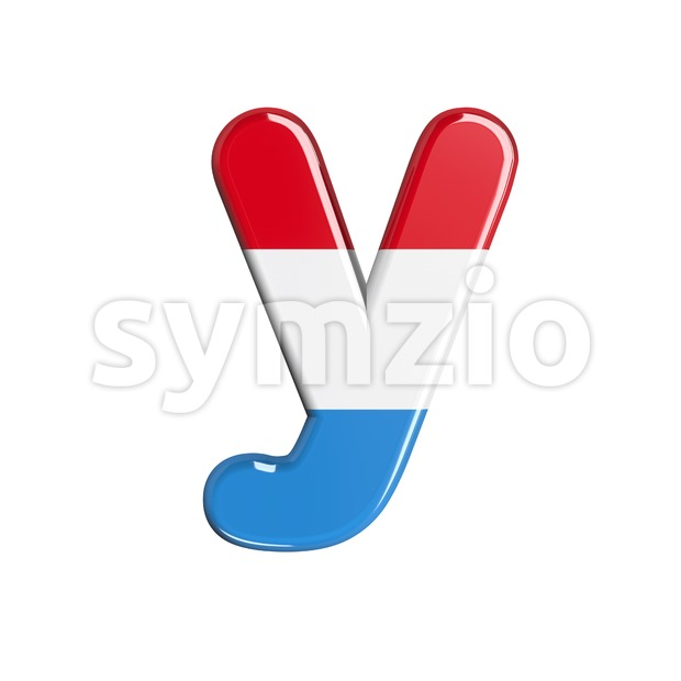 Lowercase flag of Luxemboug character Y - Small 3d letter Stock Photo