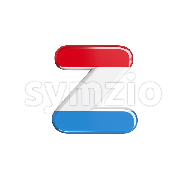 flag of Luxemboug 3d character Z - Lower-case 3d font Stock Photo