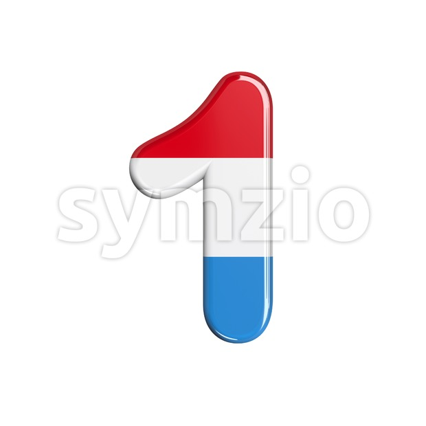 Luxembourg number 1 - 3d digit Stock Photo