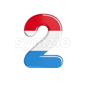 Luxembourg digit 2 - 3d number Stock Photo