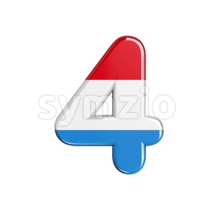 Luxembourg digit 4 - 3d number Stock Photo