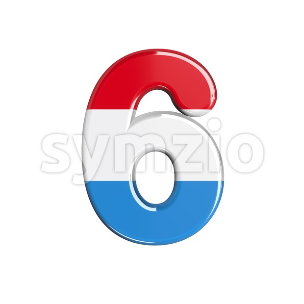 Luxembourg digit 6 - 3d number Stock Photo