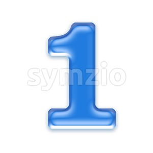 blue jelly number 1 - 3d digit Stock Photo