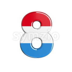 Luxembourg digit 8 - 3d number Stock Photo
